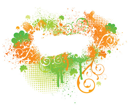 Irish themed floral grunge paint splatter background Vector