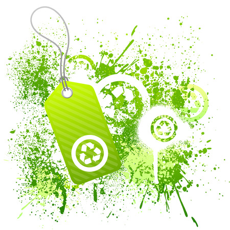 Green eco tag grunge background with recycle symbol Vector