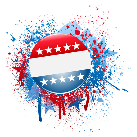Election campaign button on grunge splatter background Illustration