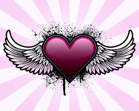 Corazón con alas y el grunge de fondo Foto de archivo - 4237642