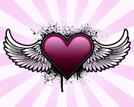 heart tattoo: Heart with wings and grunge background