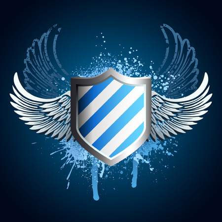 Grunge blue shield emblem with wings and paint spray