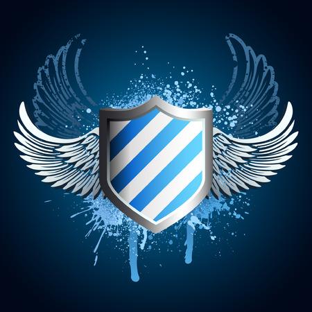Grunge blauw schild embleem met vleugels en verf spuit
