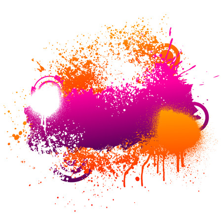 Purple and orange grunge paint splatter background