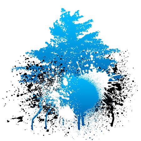 Blue and black grunge paint splatter background with tree Ilustração