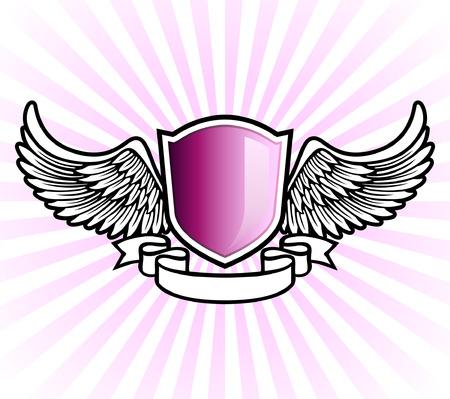 Paarse schild embleem met vleugels en banner  Stock Illustratie