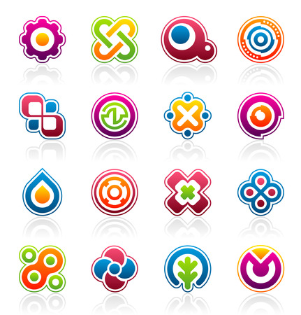 Set of 16 colorful abstract design elements and graphics Vector