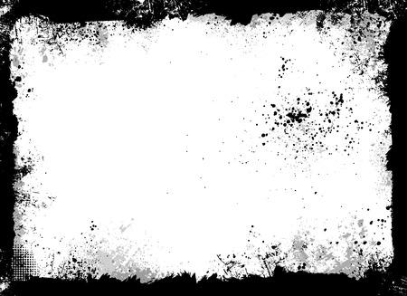 Black and gray grunge frame with paint splatter Stock Illustratie