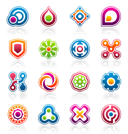 Set of 16 colorful abstract design elements and graphics