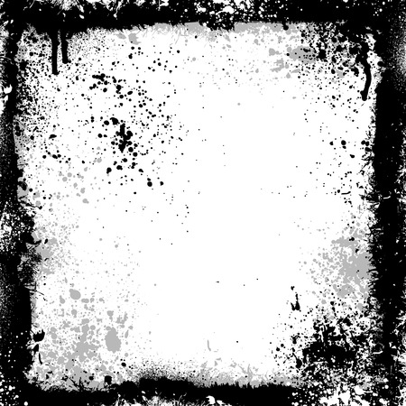 Black and gray grunge frame with paint splatter Stock Vector - 4381062