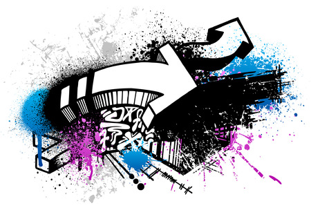 Black graffiti sketch with blue and pink grunge paint splatter Vector
