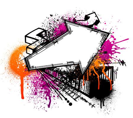 Zwarte graffiti pijl sketch met oranje en roze grunge verf splatter
