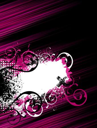 Pink and black stripes with floral and grunge frame design Ilustração