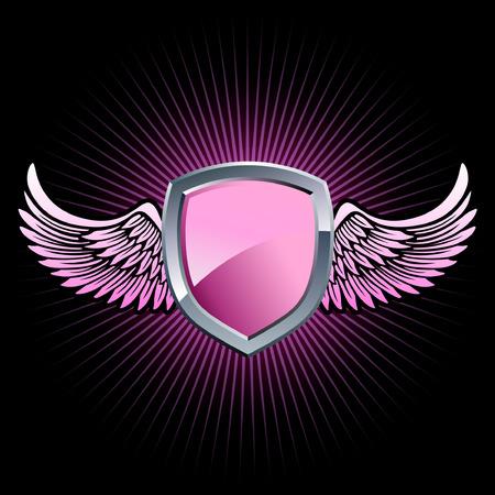 Glanzend roze en zilver schild embleem met achtergrond vleugels