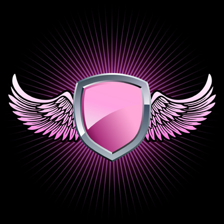 Glossy pink and silver shield emblem with background wings