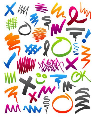 Colección de marcador trazos, círculos, y otros Garabatos.