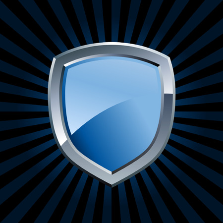 Glossy blue and silver shield emblem with starburst background