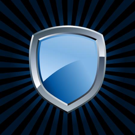 shield emblem: Lucida scudo blu e argento con stemma starburst sfondo Vettoriali