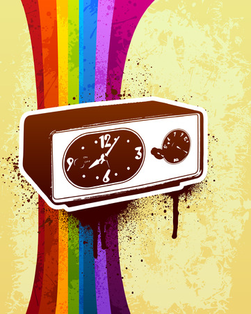 Retro clock with rainbow stripe and grunge background Vector