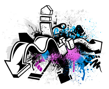 urban dance: Black graffiti sketch with blue and pink grunge paint splatter