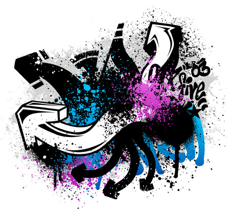 Black graffiti sketch with blue and pink grunge paint splatter Reklamní fotografie - 4596915
