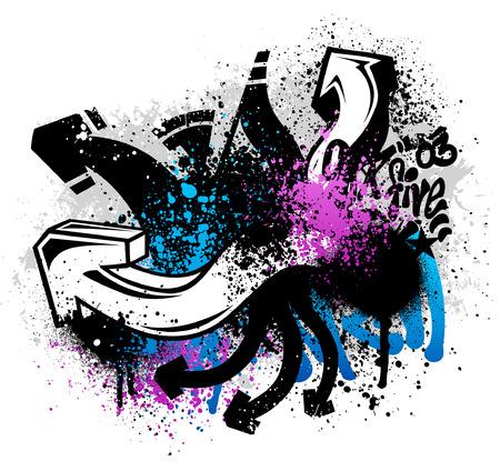 grafiti: Czarne graffiti sketch grunge z niebieskimi i różowymi farby splatter Ilustracja