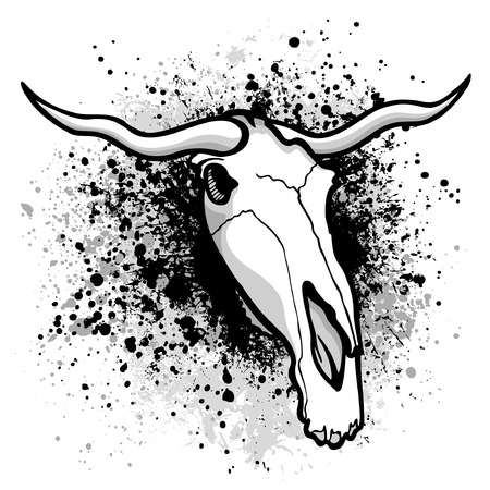 Longhorn bull graphic on grunge paint splatter background