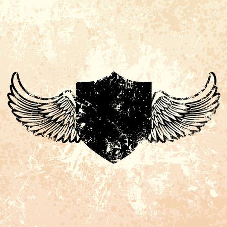 shield emblem: Nero grunge scudo emblema splatter con vernice di fondo