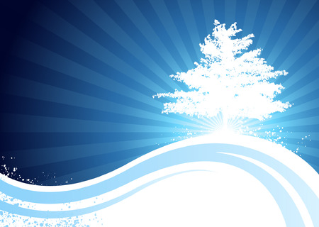 Blue flowing curve background with tree silhouette Illustration