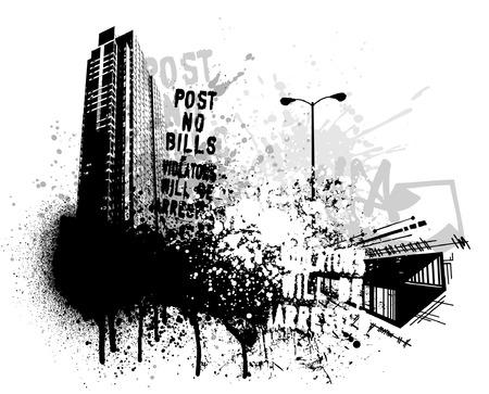 Black graffiti and paint splatter grunge city image Ilustracja