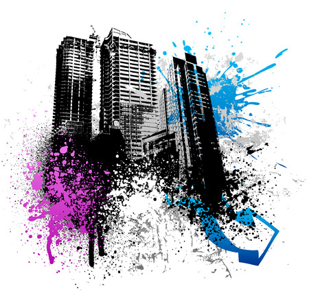 highrise: Color graffiti and paint splatter grunge city image Illustration