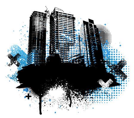 Zwarte stad gebouwen en blauwe graffiti grunge design