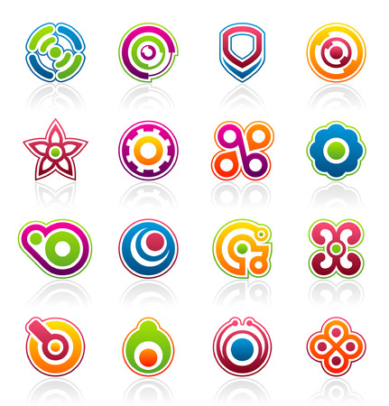 Set of 16 colorful abstract design elements and graphics Banco de Imagens - 4833830