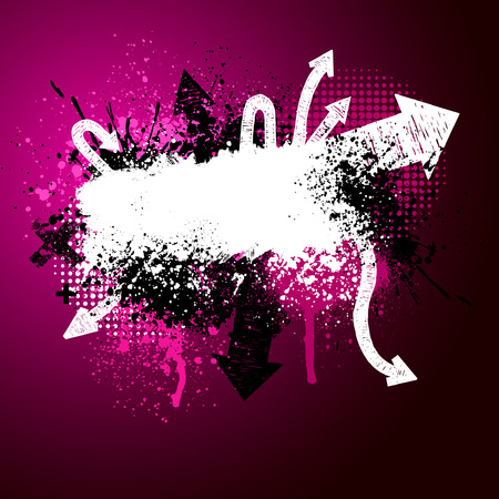 Pink, black and white grunge arrow paint splatter background