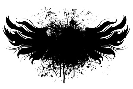 grunge: Black grunge wings illustration with paint splatter background