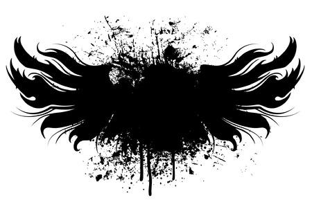 Black grunge wings illustration with paint splatter background