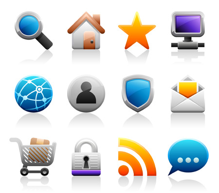 Set of 12 Titanium Series web and internet icons