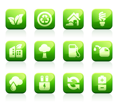 compact fluorescent lightbulb: Set of 12 glossy green environmental icons