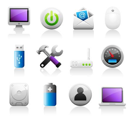 Set of 12 Titanium Series computer icons Vector