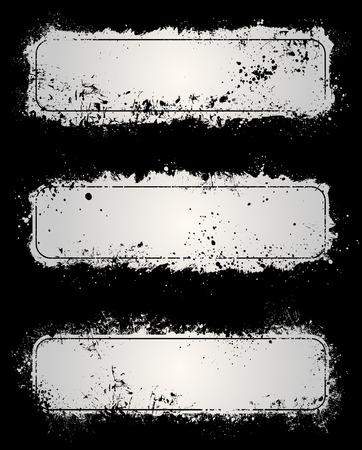 Gray paint splatter and scratch grunge frames