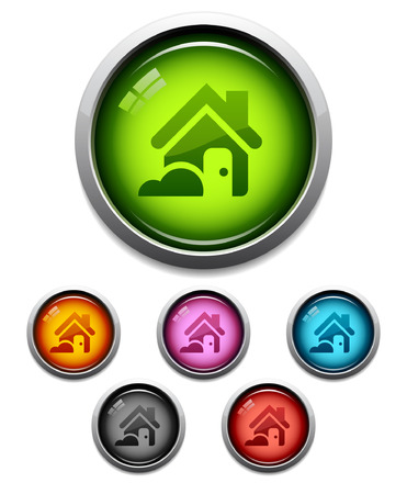 Glossy home button icon set in 6 colors Vector