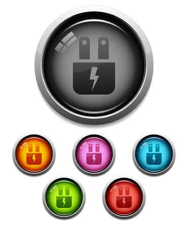 Glossy electric plug button icon set in 6 colors Vector