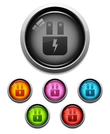 electric plug: Glossy icona del pulsante elettrico plug set in 6 colori Vettoriali