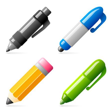 Set van vier glanzende pen en pot lood pictogrammen Stock Illustratie