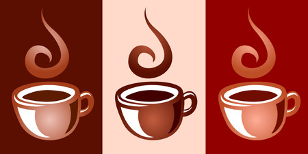 Set of coffee mug icons in 3 colors