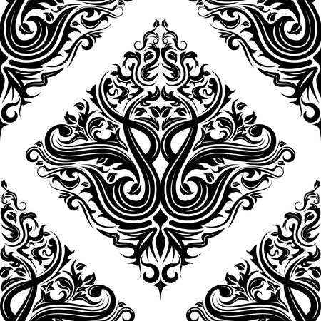 Seamless black floral background pattern design