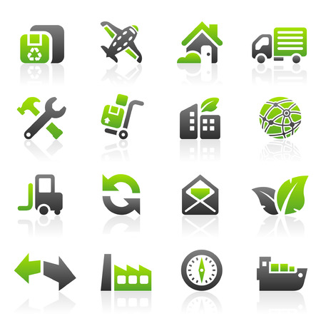Set of 16 environmental green shipping and freight icons Stock Vector - 5622668