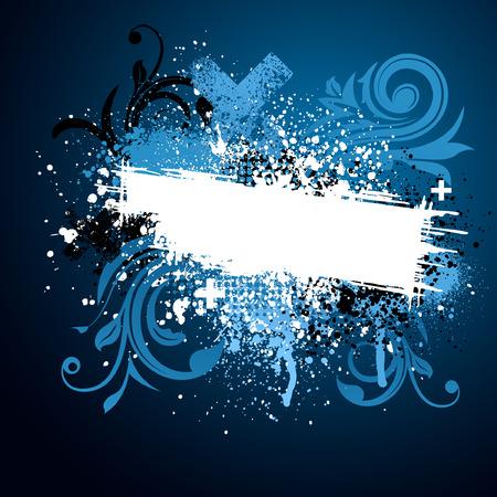 Black and blue floral grunge paint splatter background Vector