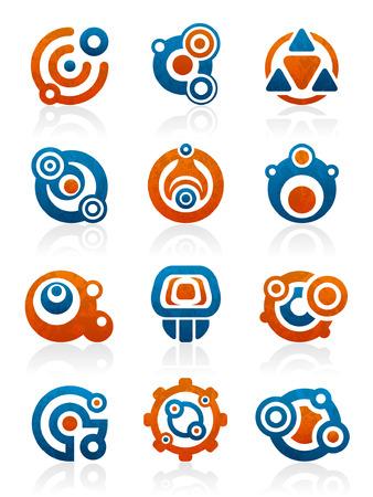 Set van 12 abstracte tribale ontwerp elementen en afbeeldingen