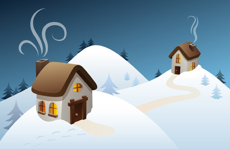 hut: Snowy winter scene in the countryside, with old-fashioned houses